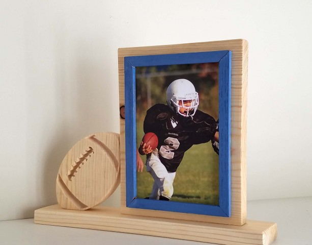 Personalized 5 x 7 Picture Frame with Carved Football, Customized Football Photo Frame
