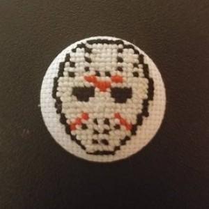 Jason Voorhees Cross Stitch Pin
