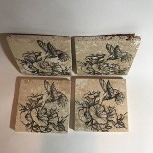 Custom Coasters-Non Stick Coasters-Personalized Coasters-Hummingbird Coasters-Travertine Tile Coasters-Drink/Barware-Housewarming-Gift Ideas