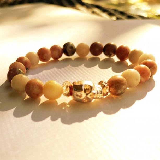 Agate & Rose Gold Skull Bracelet