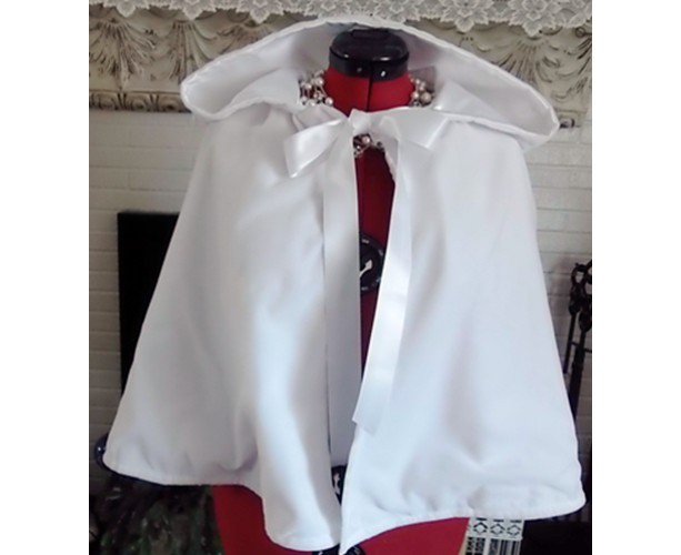 Snow White Hooded Bridal Cape,Winter Wedding White Velvet Capelet 18""