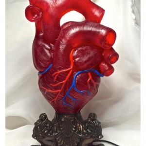 Anatomical Heart Desk Lamp, Pulsing LED