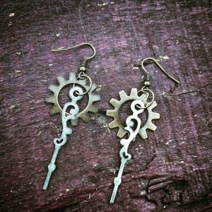 Repurposed Steampunk Handmade Ooak Elegant Watch Hand Earrings