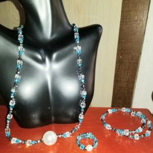 Pearl Sky Blue Crystal Necklace, Bracelet & Ring Set