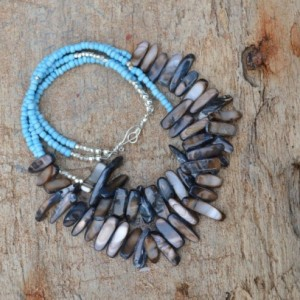 Turquoise beaded necklace with shell beads, African jewellry, beaded African necklace, Turquoise beads