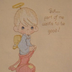 """But part of me wants me to good."" Precious Moments Cross Stitch Art Wall Decor, Nursery"