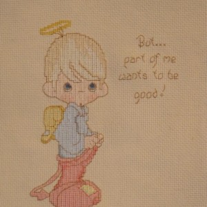 """""""But part of me wants me to good."""" Precious Moments Cross Stitch Art Wall Decor, Nursery"""