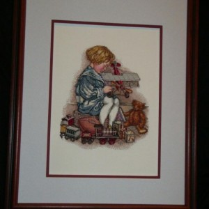 Boy Playing With Trains Cross Stitch Framed Art