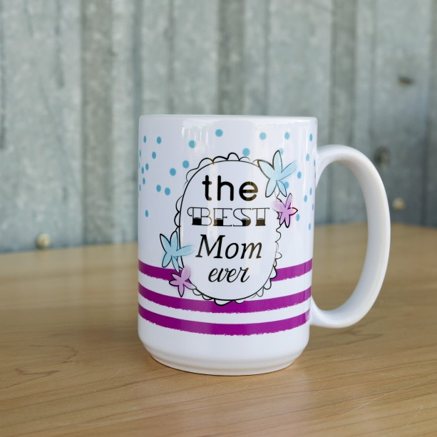 Best Mom Ever Coffee Mug with Purple Stripes with Blue Flowers and Polka Dots