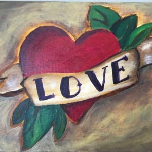 Love heart tattoo original acrylic painting on canvas