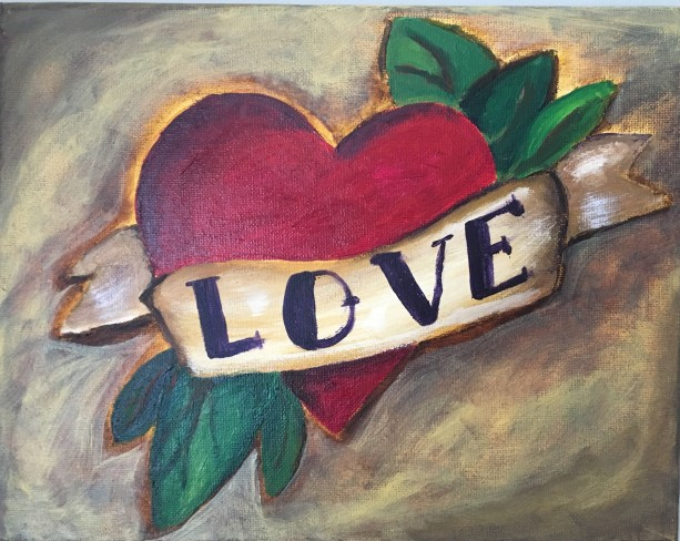 Love heart tattoo original acrylic painting on canvas