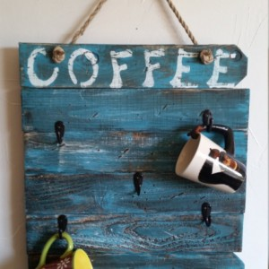 "Rustic, handmade and hand painted ""Coffee"" mug wall hanging for kitchen"