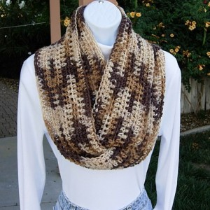 SUMMER SCARF Infinity Loop Cowl Brown Beige Tan Cream Multicolor Handmade Crochet Knit Endless Circle..Ready to Ship in 2 Days