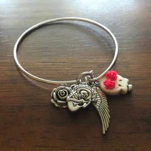 Day of the Dead Bracelet, Sugar Skull Bracelet, Day of the Dead Bangle, Bangle Bracelet with Charms, Sugar Skull, Skull Bracelet, Bangle