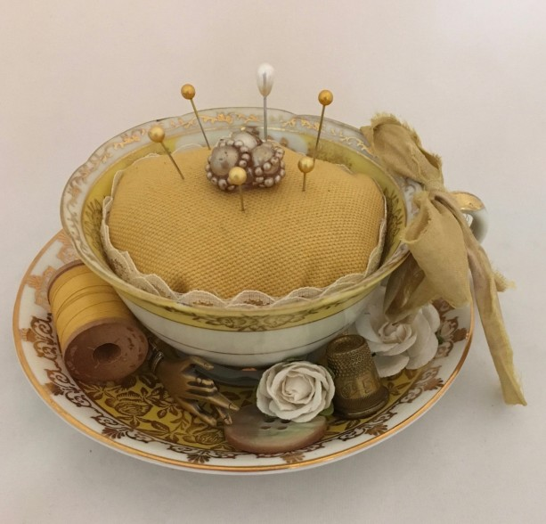 Vintage Tea Cup Pin Cushion-Windsor China