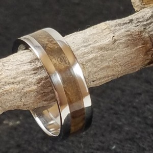 size 10 1/2 walnut burl ring, Stainless Steel core and edging accent this beautiful ring, 8mm wide band