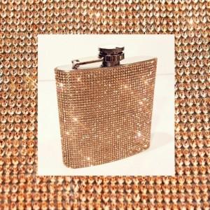 Rose Gold Crystal Rhinestone 6oz Bling Flask