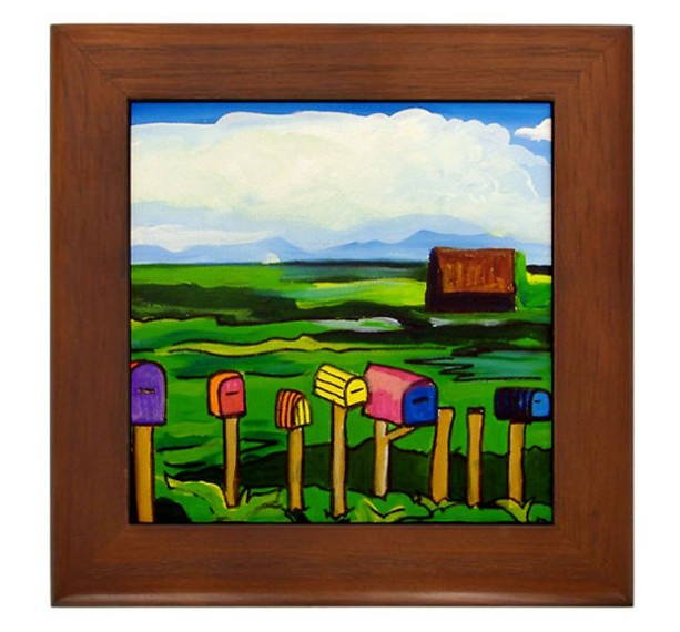 "Mexican Folk Art- ""Mailboxes"" - FRAMED TILE By Artist A.V.Aposte"