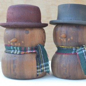 Wooden Snowman Couple