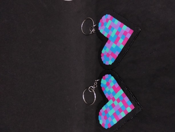 Perler Bead Heart Keychains