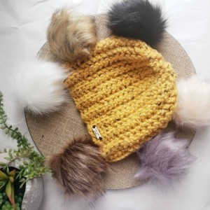 Ready to ship! Mustard rust bulky knit beanie! Handmade crochet beanie/ hat faux fur pom, choose your pom, removeable pom pom burnt orange