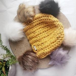 Ready to ship! Mustard rust bulky knit beanie! Handmade crochet beanie/ hat faux fur pom, choose your pom, removeable pom pom burnt orange