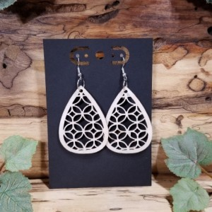 Wooden- Bohemian - Laser Cut - Teardrop Dangle Style  - Lightweight- Birthday Gift - 3 Finishes Available - Natural, Brown or Lt Red Stained