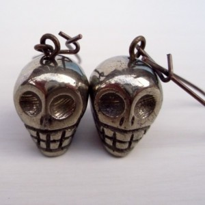 Pyrite Skull Earrings