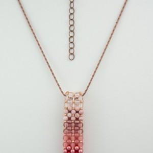 Ombre' Pink Czech Glass Vertical Slide Bar Pendant necklace