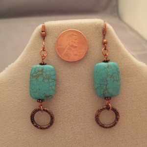 Real Copper Findings with Turquoise Colored Howlite and Loops Earrings