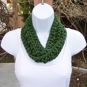 Small Dark Solid Green Skinny SUMMER INFINITY SCARF, Women's Hunter, Forest Green Cowl, Soft Lightweight Crochet Knit, Ships in 3 Biz Days
