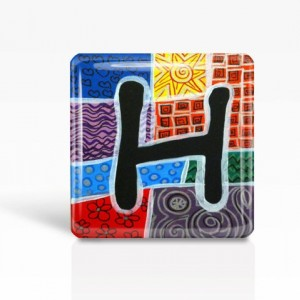 "ALPHABET Letter ""H"" - Glass MAGNET By Artist A.V.Apostle- 2""x 2"""