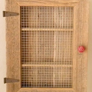 Rustic Country Cabinet with Red Distressed Knob