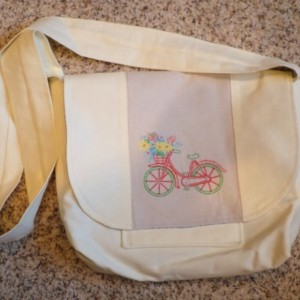 Embroidered Linen messenger bag