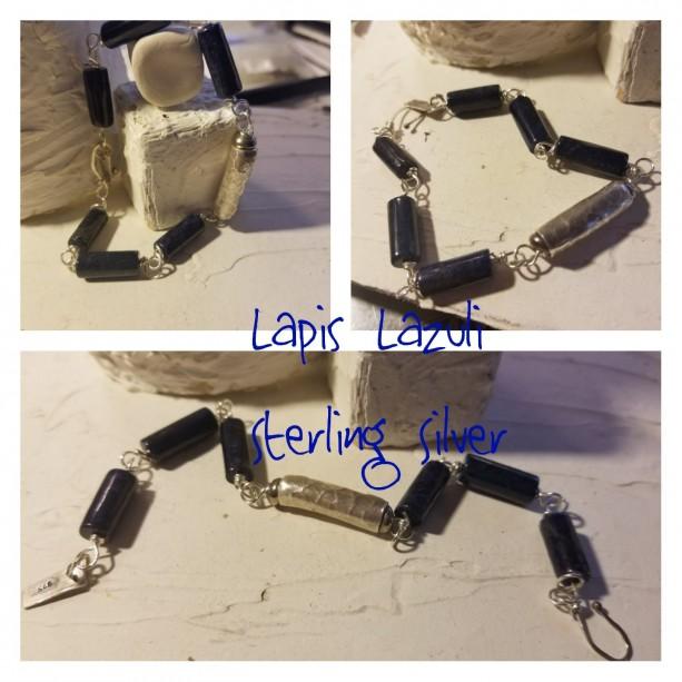 Lapis Lazuli and Sterling Bracelet
