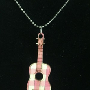 Wood guitar pendant and ball chain