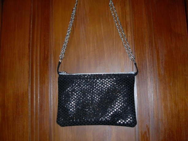 Black Leather Evening Bag with Silver Chain and Silver Zipper