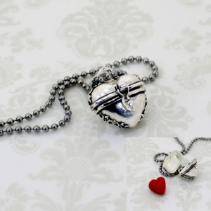"Evil Queen Heart ""Prayer Box"" Necklace - OUAT - Fairy Tales - Polymer Clay - Womens Jewelry - Gifts Under 15 - Valentines Day"