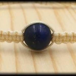Beige Macrame Lapis Lazuli Bracelet