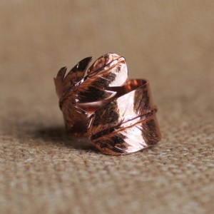 Copper Feather Adjustable Ring