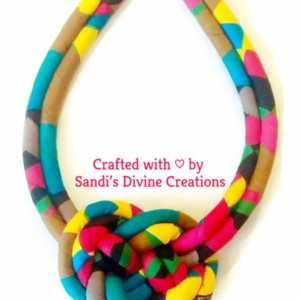 Ankara Necklace, Multi-Colored Ankara Necklace, African Print Ankara Necklace, Double Strand Ankara Ethnic Necklace, Tribal Rope Jewelry