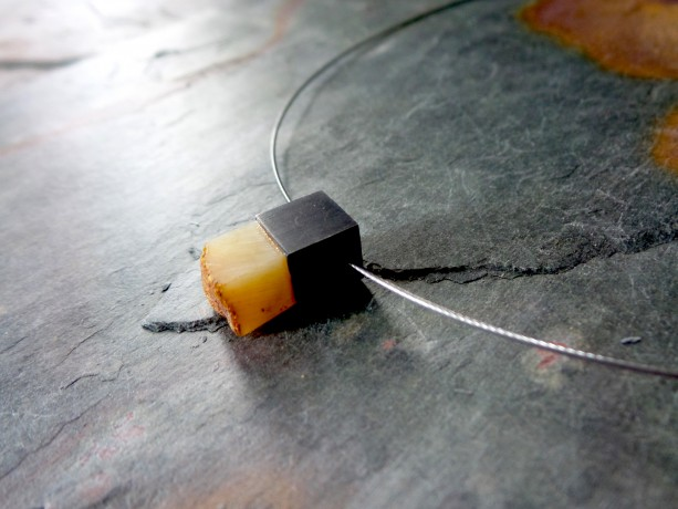 Baltic Amber , Sterling Silver Pendant Necklace . Modern Baltic Amber Jewelry .