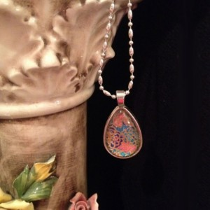 """""""Papers"""" Chiyogami 106 Silver Teardrop Pendant"""