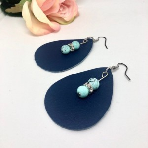 Navy Blue Feather Earrings