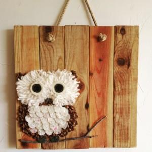 Rustic, handmade owl wall hanging