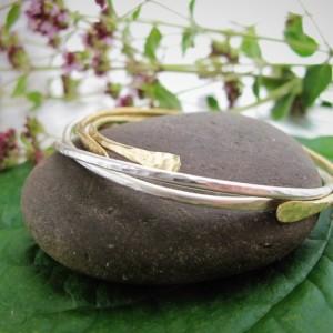 Minimal Silver and Gold Bangles, Set of Stacking Bangle Bracelets, Hammered Bangles, Cuff Bracelet, Open Bangle Bracelet