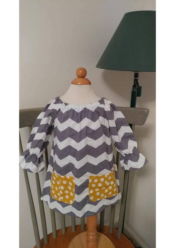 Chevron Long Sleeve Pocket Dress