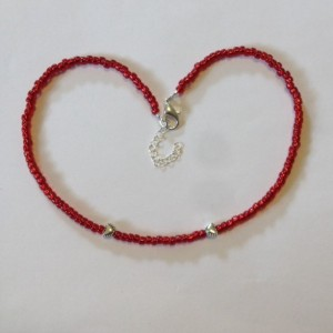 Red Heart Choker, Dainty Seed Bead Necklace, 15 Inch Minimalist Choker, Silver Tone and Red Collar Necklace, Bridesmaid's Gift, Gift for Her
