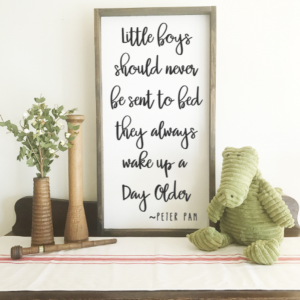 Peter Pan QUOTE WOOD SIGN, FRAMED WOOD SIGN, NURSERY DECOR.