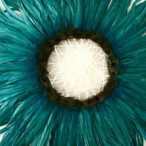 OOAK Turquoise 35x35 Feather Wall Art Decor